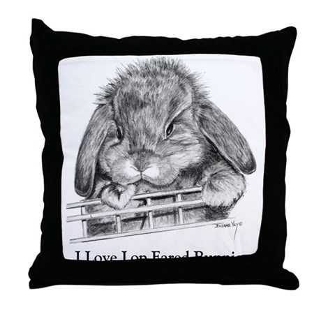 Lop Eared Bunny Throw Pillow