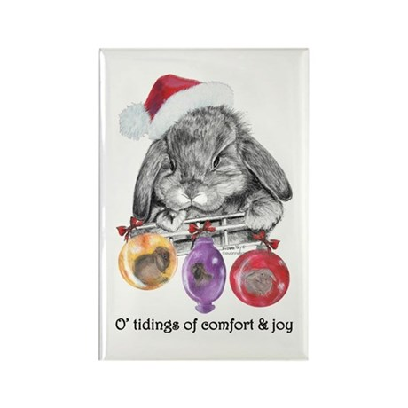Lop Rabbit Christmas Rectangle Magnet (10 pack)