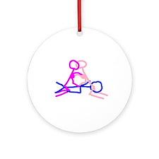 Stick figure 6 Ornament (Round)