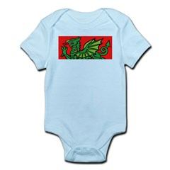 Green on Red Dragon Infant Creeper