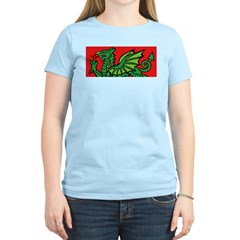 Green on Red Dragon Women's Pink T-Shirt