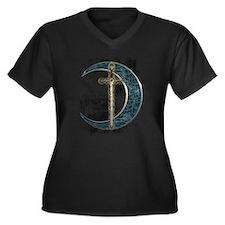 Grunge Celtic Moon and Sword Women's Plus Size V-N