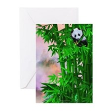Panda Cub in Bamboo Greeting Cards