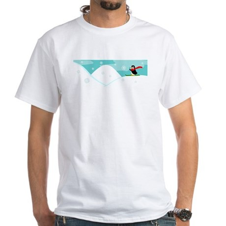Skiing Penguin White T-Shirt