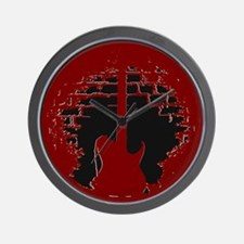 Red-Black Electric Guitar Silhoutte Wall Clock