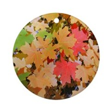Fall Colors Leaves Ornament (Round)