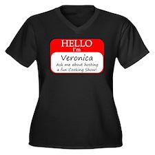 Veronica Women's Plus Size V-Neck Dark T-Shirt
