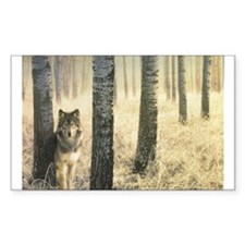 """Wolf In Woods"" Rectangle Decal"