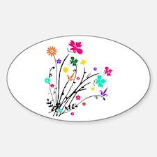 'Flower Spray' Oval Decal