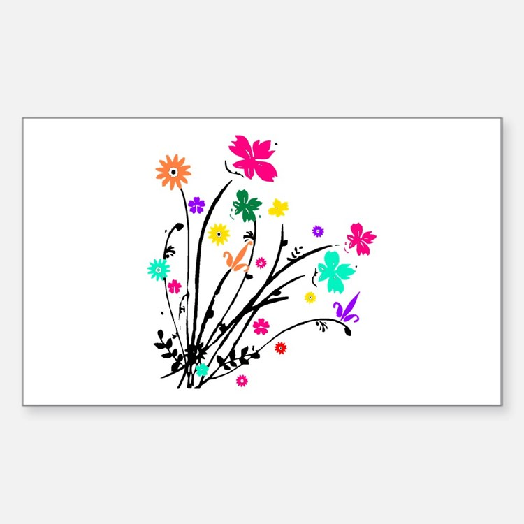 'Flower Spray' Rectangle Decal