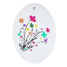 'Flower Spray' Oval Ornament