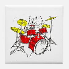 Drums Cat Tile Coaster