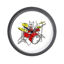Drums Cat Wall Clock