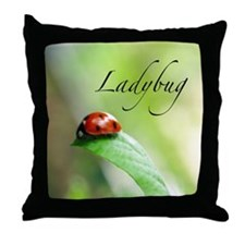 Ladybug on Leaf Throw Pillow