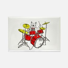 Catoons™ Drums Cat Rectangle Magnet