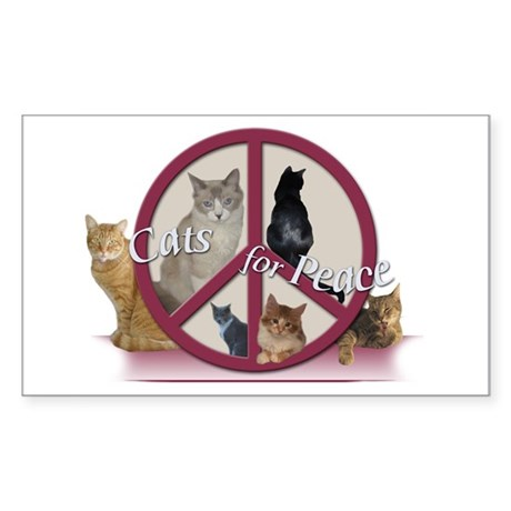 Cats for Peace Rectangle Sticker