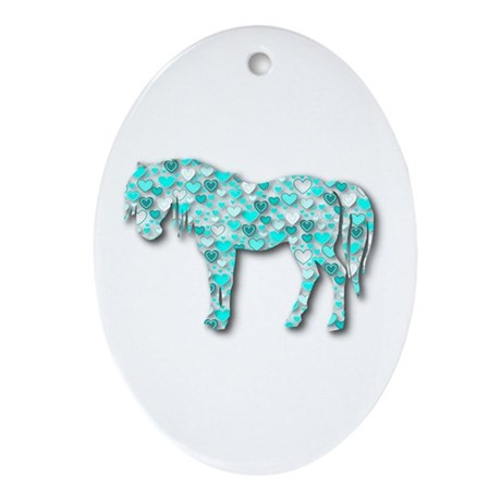HeartHorse - Aqua Ornament (Oval)