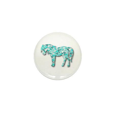 HeartHorse - Aqua Mini Button (100 pack)