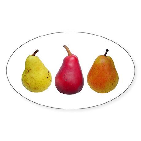 Three Pears Oval Sticker