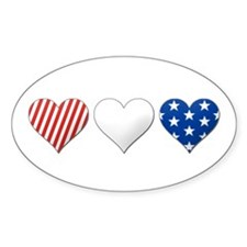 Red, white & blue Oval Sticker (10 pk)