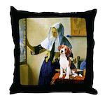 Woman w/Pitcher - Beagle Throw Pillow