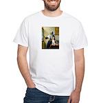 Woman w/Pitcher - Beagle White T-Shirt