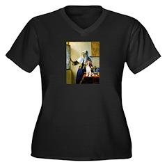 Woman w/Pitcher - Beagle Women's Plus Size V-Neck
