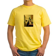 Woman w/Pitcher - Beagle Yellow T-Shirt