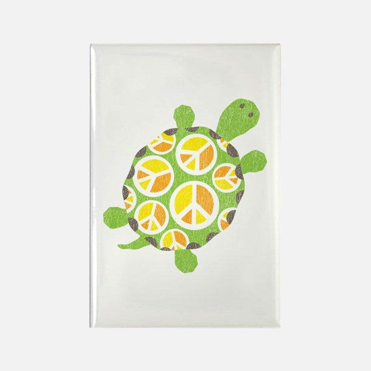 Peace Sign Turtle Rectangle Magnet