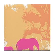Cute Pink elephant Tile Coaster