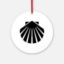 Black Scallop Ornament (Round)