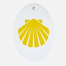 Yellow Scallop Oval Ornament