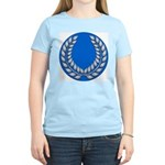 Blue with silver laurel Women's Pink T-Shirt