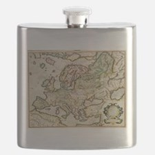 Vintage Map of Europe (1596) Flask