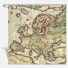 Vintage Map of Europe (1596) Shower Curtain