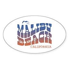 Malibu Beach California Oval Decal