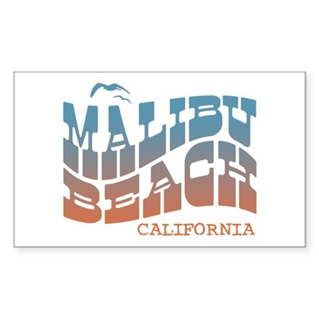 Malibu Beach California Rectangle Sticker