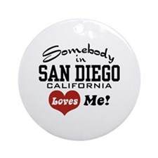 Somebody In San Diego Loves Me Ornament (Round)