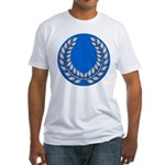 Blue with silver laurel Fitted T-Shirt