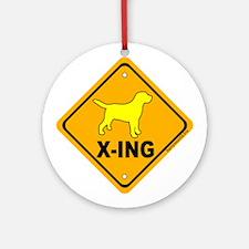 Yellow Lab X-ing Ornament (Round)