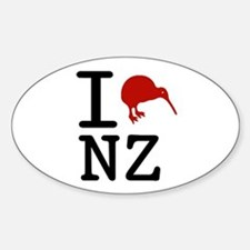 I Love New Zealand Oval Bumper Stickers