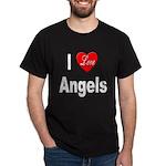 I Love Angels (Front) Black T-Shirt