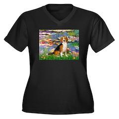 Lilies (#2) - Beagle #7 Women's Plus Size V-Neck D