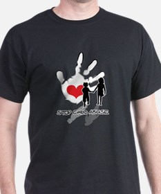 Stop Child Abuse Black T-Shirt