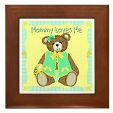 Mommy Loves Me Teddy Bear Framed Tile