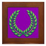 Purple with green laurel Framed Tile
