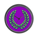Purple with green laurel Wall Clock