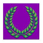 Purple with green laurel Tile Coaster