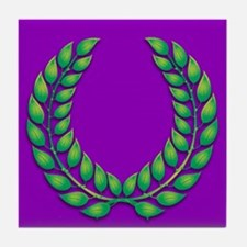 Purple with green laurel Tile Coaster