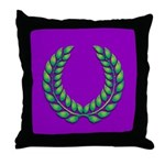 Purple with green laurel Throw Pillow